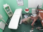 Doctor records blonde sucking his dick