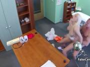 Doctor fucks busty blonde in hospital