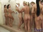 Teen babe huge facial Hot 8 dolls taking a shower together
