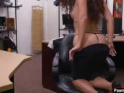 Latina babe gives blowjob for a laptop