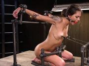 Nipples torment in metal device bondage