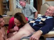Teens Sally and Gigi shares with an old mans dick