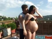 Preggo wife banged on a terrace