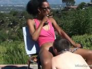 White servant eats out his ebony dominatrix