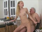 Steaming young seductress likes old cock in mouth and twat