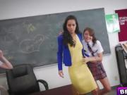 Hot lesbian students lick their teachers pussy