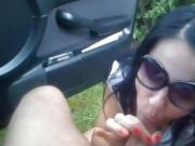 Horny little Asian whore blows dick in public