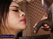 Thai ladyboy interracial bareback anal with a black guy