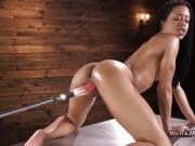 Athletic solo ebony anal fucking machine