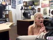 Big tits blond woman fucked by pawn man in the backroom