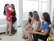Orgy shaved pussies lesbian brunettes licking