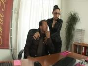 Beautiful blonde secretary receives a thick creampie