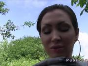 Short haired babe sucks and fucks outdoor
