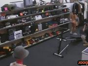 Ghetto chick gets fucked by pawn guy at the pawnshop
