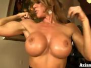 Sexy fit MILF strips and masturbates