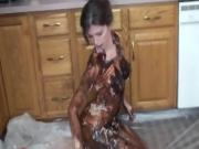 Chick Covers Herself In Syrup And Plays Around