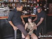 Bartender rides two big black dicks
