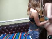 Brunette girl convinced to fuck with nasty man for cash