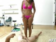 Naughty slut's footjob is impressive