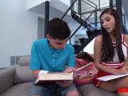 Sly stepsis fucks her nerdy lil bro while doing his math HW