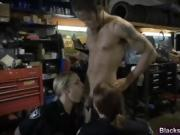 Slutty cops with big tits sharing long black schlong