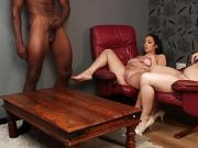 British femdoms instructing black sub to tug
