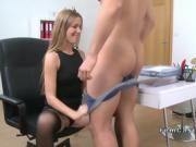 Female agent spreads legs and gets licked