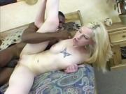 Sexy pale blonde is fucked hard by her black bf
