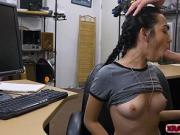 Petite Kiley Jay gobbles Shawns bigcock in the office