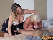 Blonde milf gobbles cock