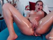 Webcam horny babe fingering fiercely her pussy
