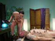 Masseuse anal fucks male in bondage