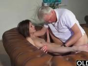 Old and Young Porn - Babysitter's pussy fucked by old man