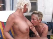 Blonde girls Mature lesbo party .