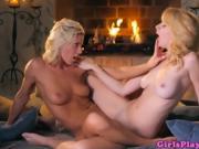 Lesbian lingerie model fingering wet pussy