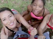 Shy interracial When Annika Eve, Mya Mays, and