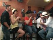 Entertainment three fatties in the bar
