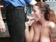Busty nerd Dakota Rain shoplifts and fucked