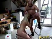 Blonde nerdy chick sucking old guy small dick