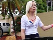 Pale blonde stranded teen fucks in car