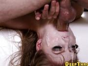 Skull fucked ho gets face wam in saliva and mouth spunked