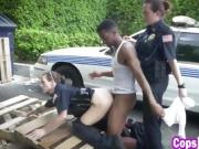 Horny officers make suspect eat pussy