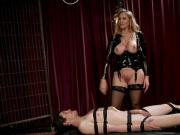 Busty blonde mistress anal fucks male