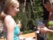 Blonde teen associate Kate & Tanya in the sun