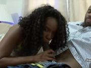 Sexy ebony babe gets a sticky jizz-load in her hair