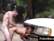 Brunette gets pussy filled from behind at border