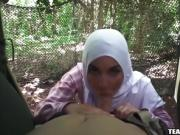 Two arab babes suck a cock in a military jungle camp