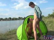 Teen bukakke Eveline getting humped on camping site