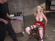 Blonde slave drooling on huge dick