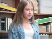 Innocent blonde school girl black mailed by fake manager